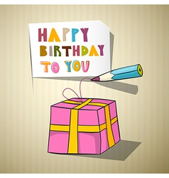 Happy Birthday Title Gift Box Pencil vector image