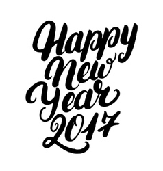 happy new year 2017 hand written lettering vector image