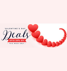 happy valentines day sale and deal banner design vector image