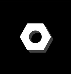 Hex nut icon flat vector