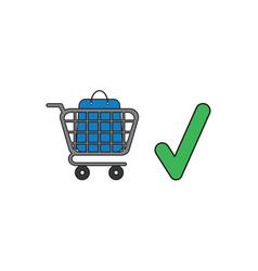 icon concept shopping bag inside shopping cart vector image