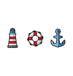 icon sea lighthouse lifebuoy and anchor on vector image