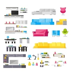 Interior elements orthogonal icons set vector