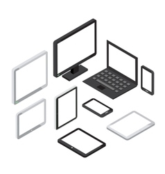 Isometric 3d computer and laptop tablet pc vector image