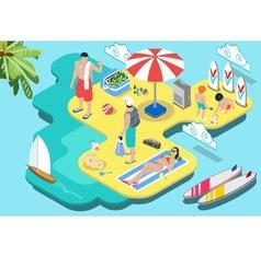 Isometric Flat Beach Life - Summer Holidays vector image