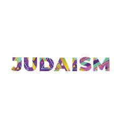 Judaism concept retro colorful word art vector