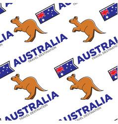 kangaroo and australian national flag seamless vector image
