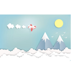 landscape and concept airplane aerial view paper vector image