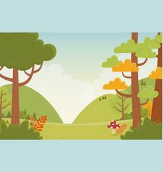 Landscape hills trees mushroom field nature vector