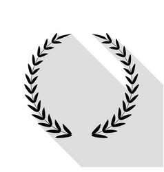laurel wreath sign black icon with flat style vector image