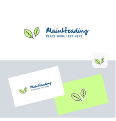 leafs logotype with business card template vector image