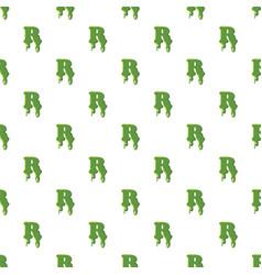 Letter r made of green slime vector