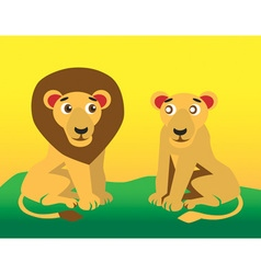 Lion and lioness vector