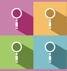 magnifying glass icon with shade on colored vector image