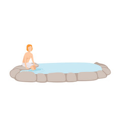 Man enjoying outdoor thermal spring guy relaxing vector