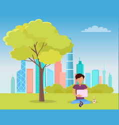 man sitting under tree and reading book in park vector image