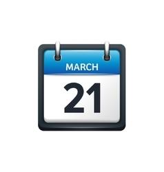 March 21 Calendar icon flat vector image