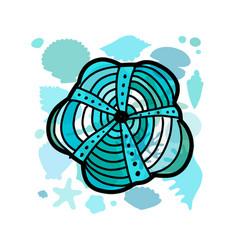marine background ornate seashell for your design vector image