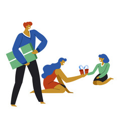 mother and father making gifts for kid on birthday vector image