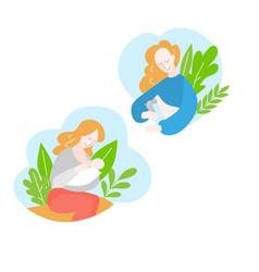Mother during breastfeeding newborn baby vector