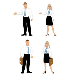 office workers on white background vector image