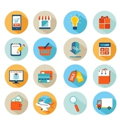 Online shopping icon set vector image