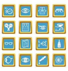 Ophthalmologist icons set sapphirine square vector