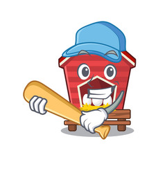 Playing baseball chicken coop isolated vector