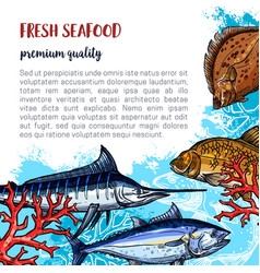 Poster of fresh seafood and fish food vector