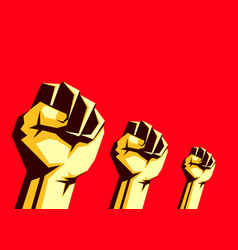 Raised fists in air on red background vector