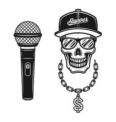 rapper skull in snapback with chain and microphone vector image