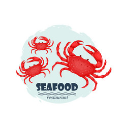 red crabs seafood restaurant label with splash and vector image