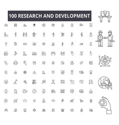 research and development editable line icons 100 vector image