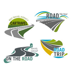 Road travel company icons set tourism trip vector