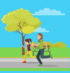 Running mom and doughter color vector