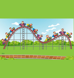 Scene with happy monkeys riding on roller coaster vector