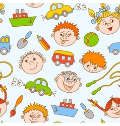 Seamless doodle smiling boys and girls vector image