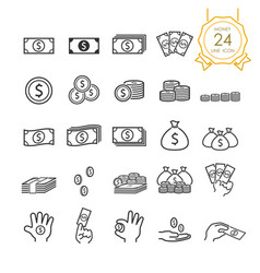 set banknote coin money bag and money vector image