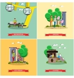 set of amusement park concept posters vector image