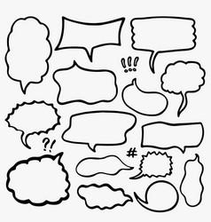Set sketched speech bubbles vector