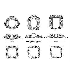 set vintage decorations frame elements vector image
