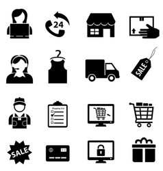 shopping and online e-commerce icon set vector image