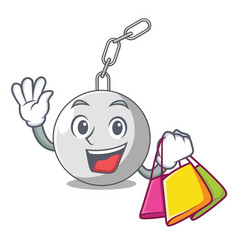 Shopping wrecking ball hanging from chain cartoon vector