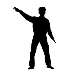 Silhouettes dancing showman vector