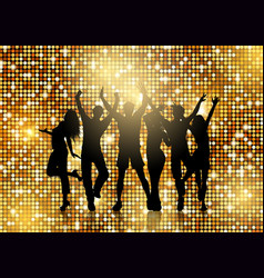Silhouettes people dancing on glittery gold vector