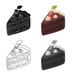 Slice of chocolate cake icon in cartoon style vector