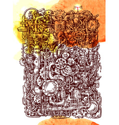 Steampunk style hand drawn mechanism vector