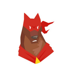 Superhero dog character in red mask cartoon vector