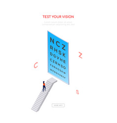 test your vision - isometric web banner vector image