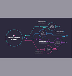 thin line infographic scheme with 4 options vector image
